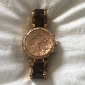 Michael Kors Rose Gold & Tortoise Watch